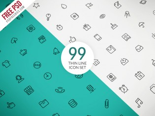 Thin Line Icon Set PSD Freebie