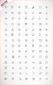 Thin Line Icon set PSD Freebie
