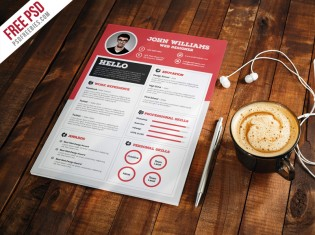 Clean And Sharp Resume CV Template Free PSD
