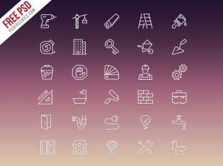 Construction Icons Set Free PSD