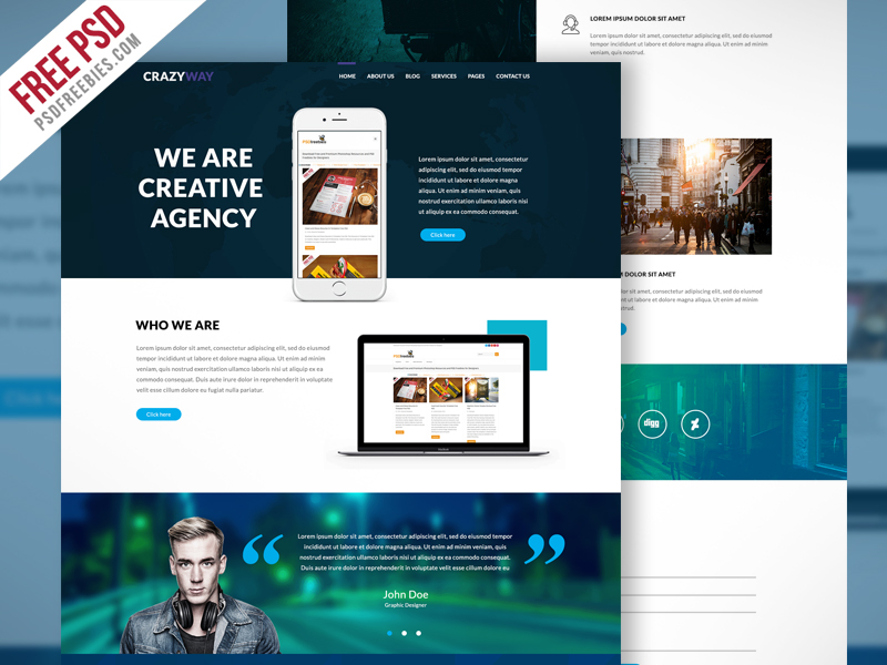 Creative agency website template free psd psdfreebies creative agency website template free psd flashek Choice Image