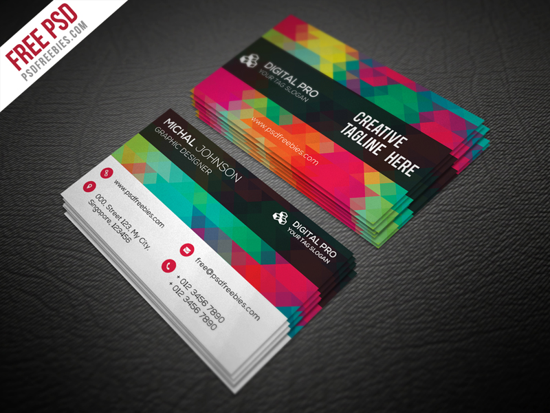 Creative multicolor business card template free psd for Creative business card templates free