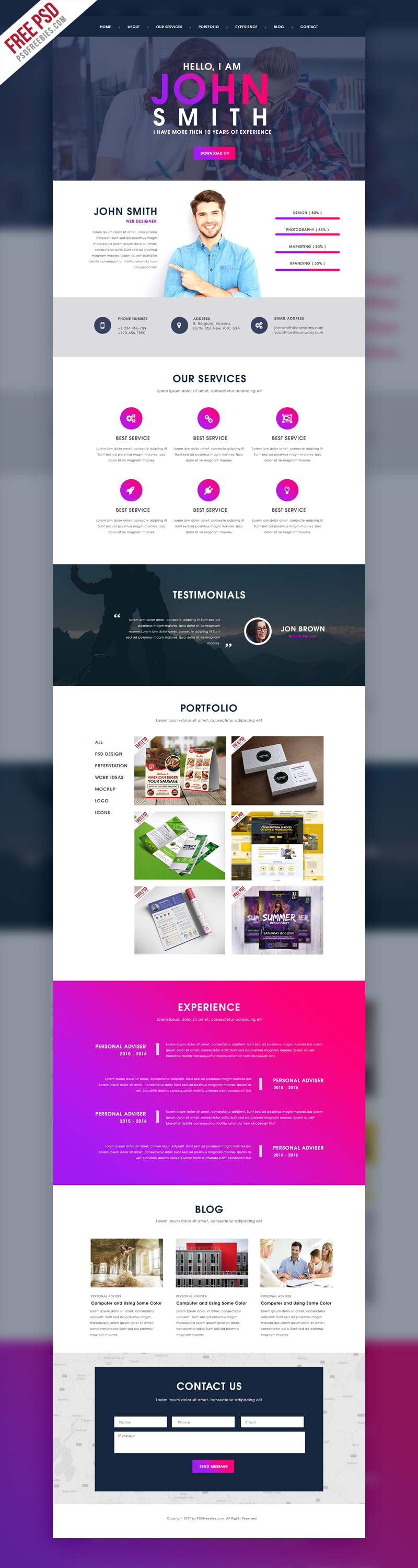 Creative One Page Portfolio Website Template Free PSD