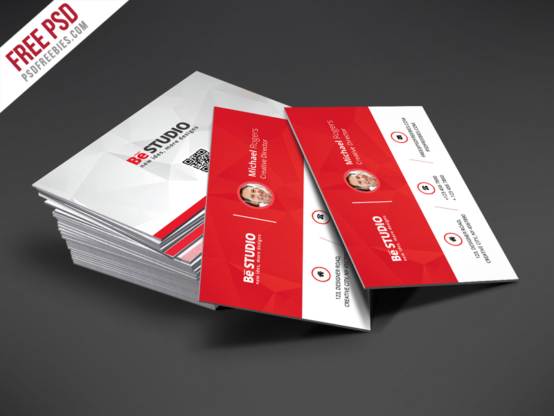 Creative Red Business Card Free Psd Template Psdfreebies