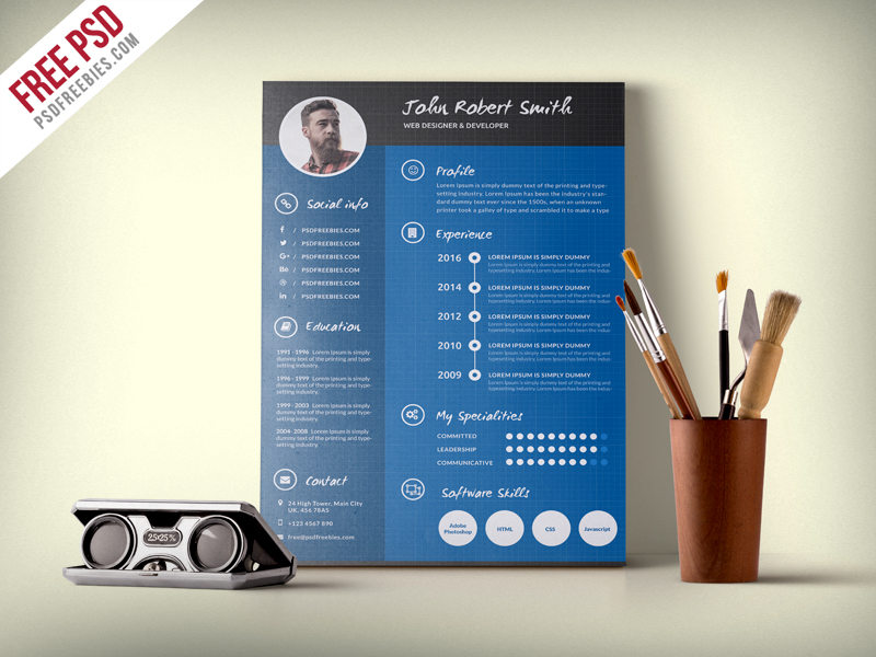 Creative and Professional Resume CV Free PSD Template PSDFreebies