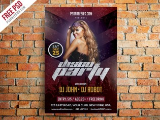 Disco Party Poster Flyer Template Free PSD
