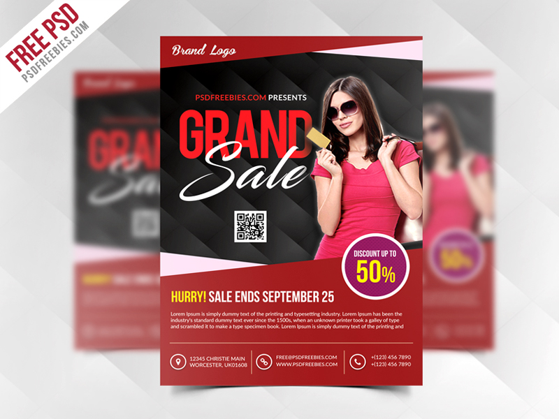 fashion flyers templates for free - grand sale flyer template free psd
