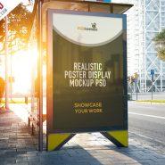 Realistic Poster Display Mockup Free PSD