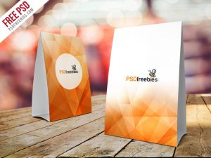Table Tent Card Mockup Free PSD