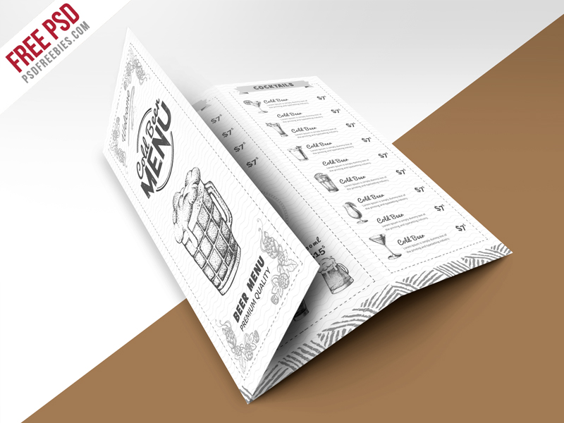 vintage style bar menu trifold brochure psd template