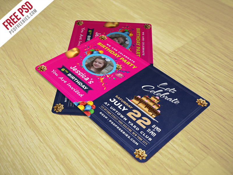 Birthday Invitation Card Template Free Psd Psdfreebies Com