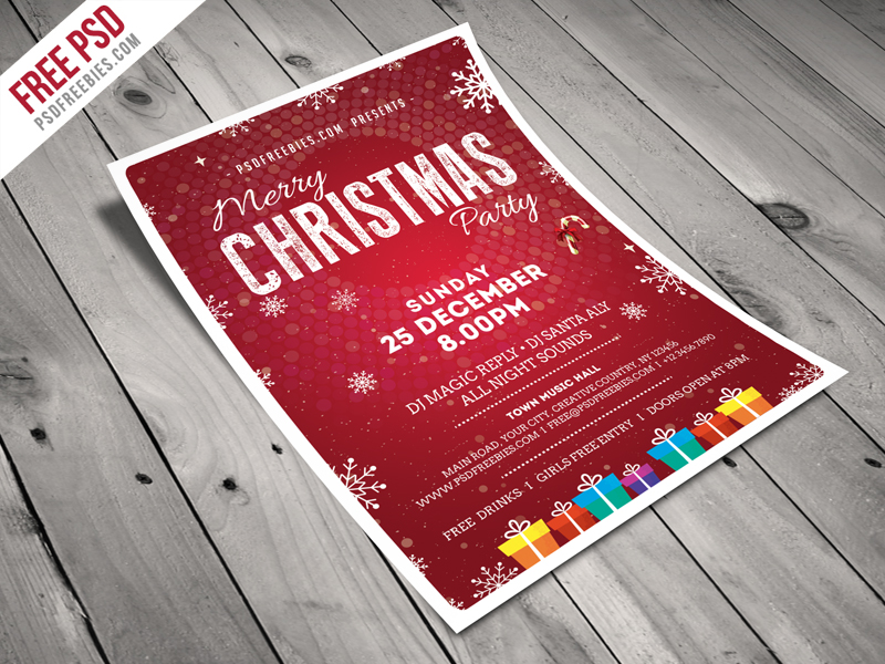 christmas party flyer template free psd psdfreebies com