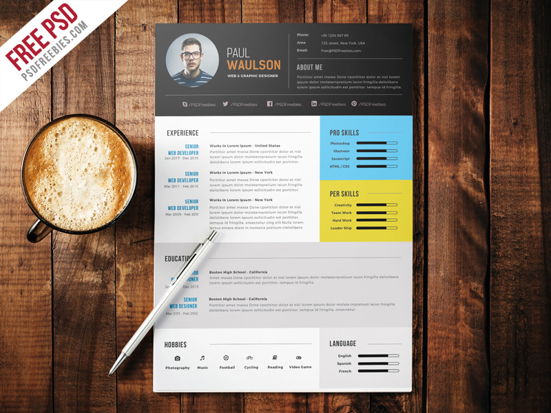 free clean resume psd template - psdfreebies com