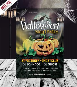 Halloween Night Party Flyer Template Free PSD