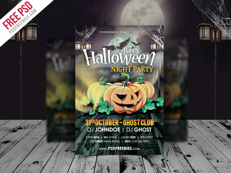 Halloween Night Party Flyer Template Free Psd Psdfreebies