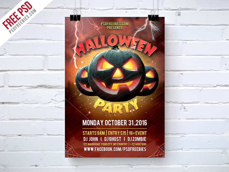 Halloween Party Flyer Template Free Psd Psdfreebies