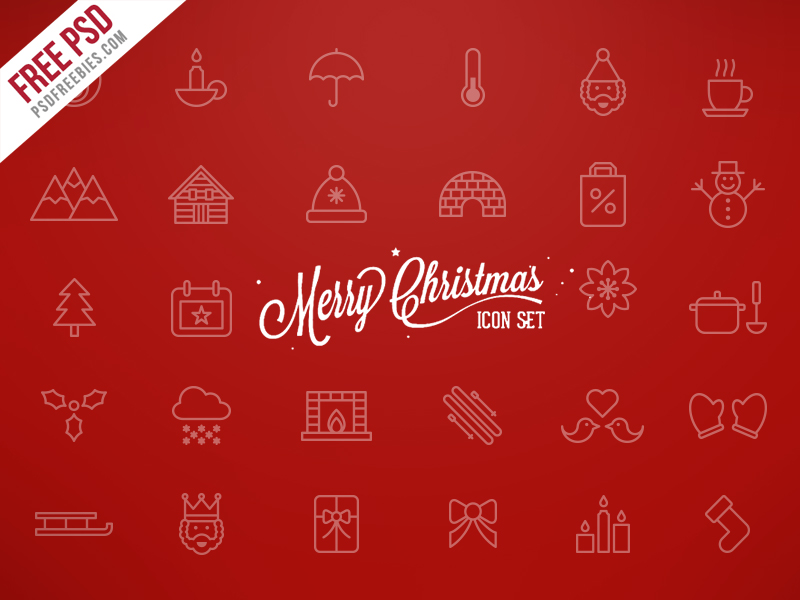 Merry Christmas Icons Free PSD