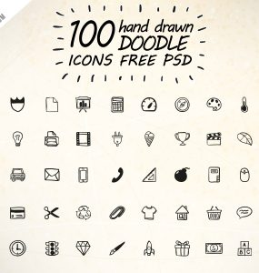 100 Hand Drawn Doodle Icons Free PSD