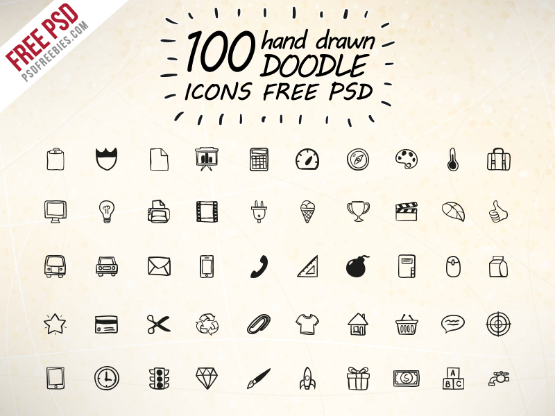100 Hand Drawn Doodle Icons Free PSD M