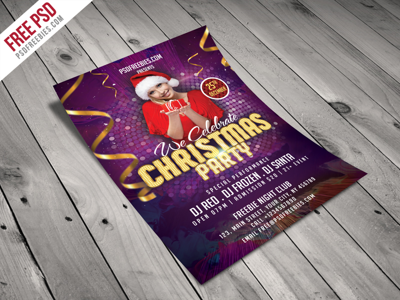 christmas night party flyer template free psd psdfreebies com