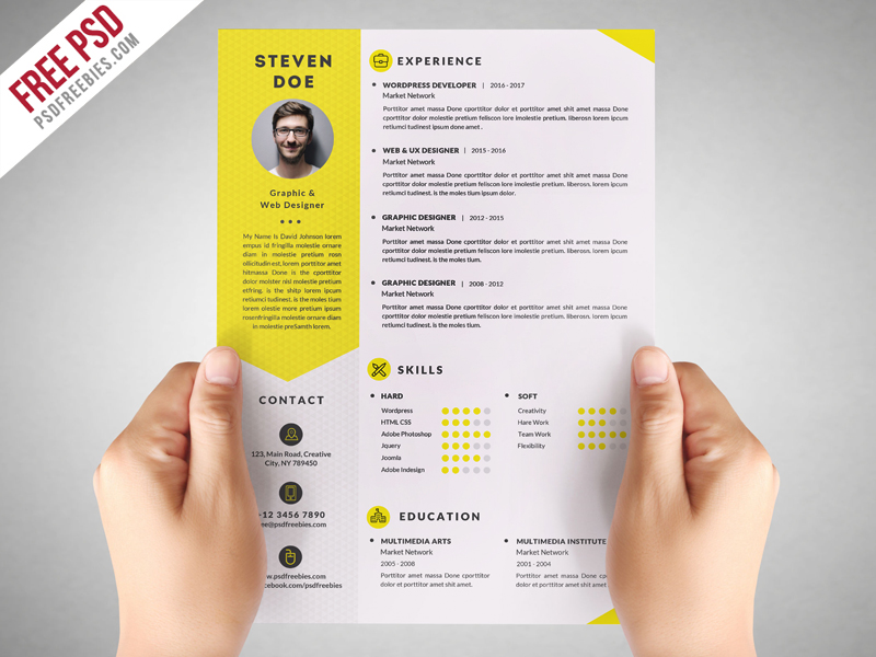 Clean Resume CV Template Free PSD - Great free creative resume template (psd id)