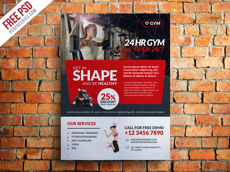 gym and fitness club flyer template free psd psdfreebies com