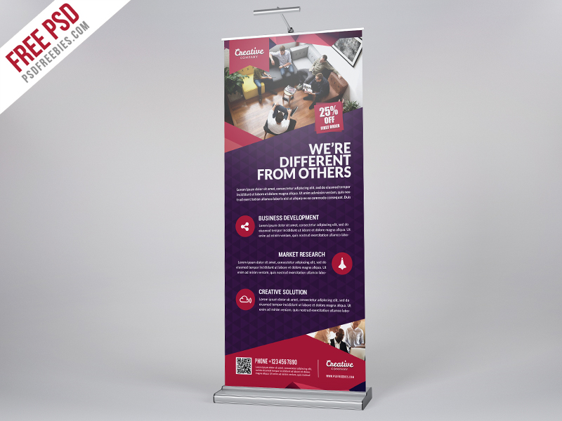 Multipurpose Corporate Roll Up Banner Free PSD