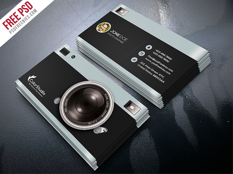Photography business card template free psd psdfreebiescom for Business card photoshop template psd