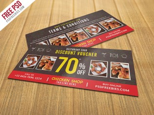 Restaurant Food Discount Voucher Free PSD