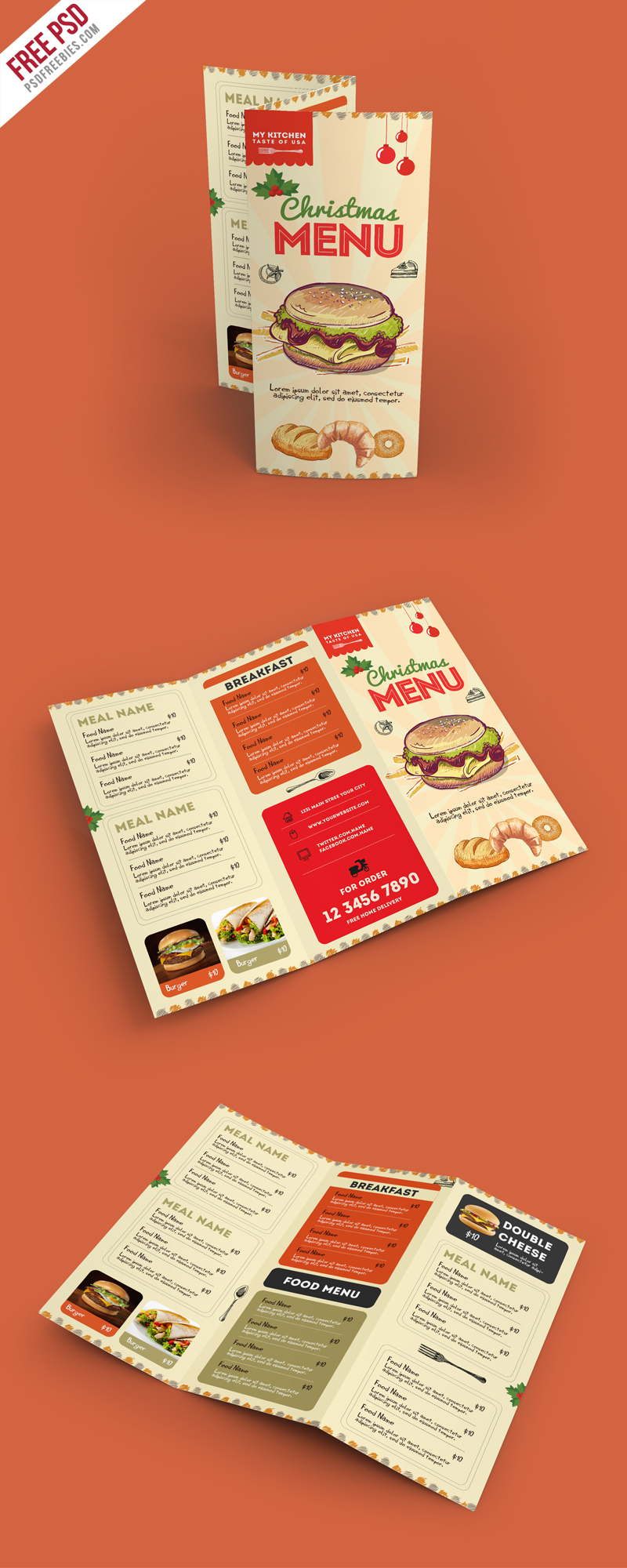 retro restaurant food menu brochure free psd
