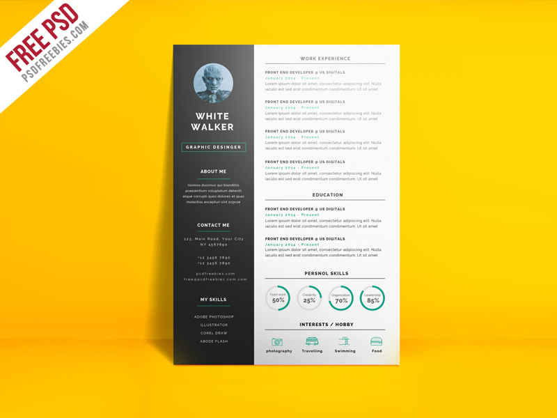 Simple and Clean Resume CV Template Free PSD  PSDFreebies.com