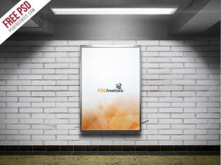 Subway Advertising Billboard Mockup Free PSD