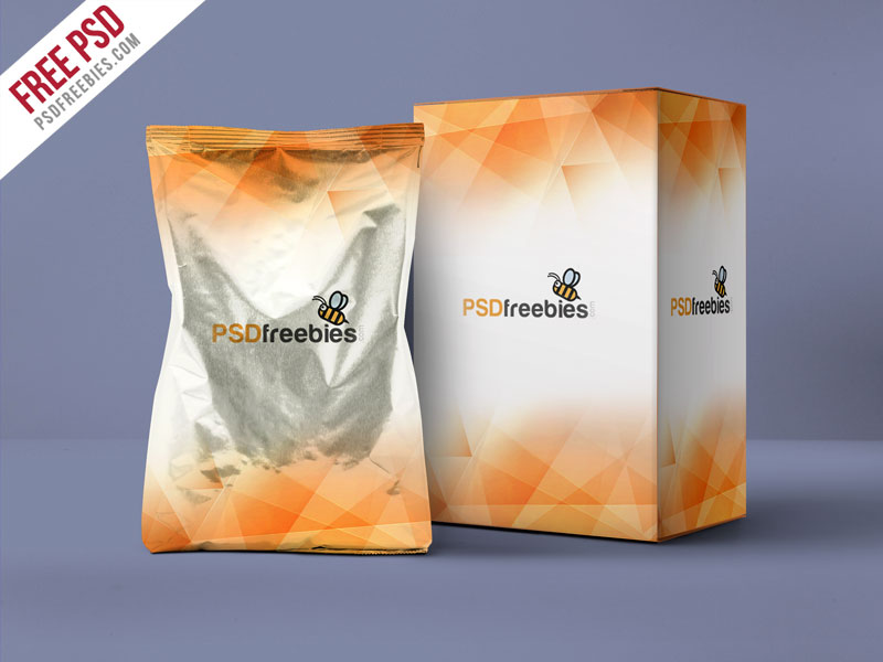 Aluminum Pouch And Box Mockup PSD Template