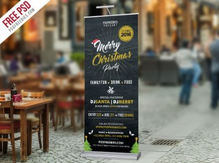 Christmas Party Roll-up Banner PSD