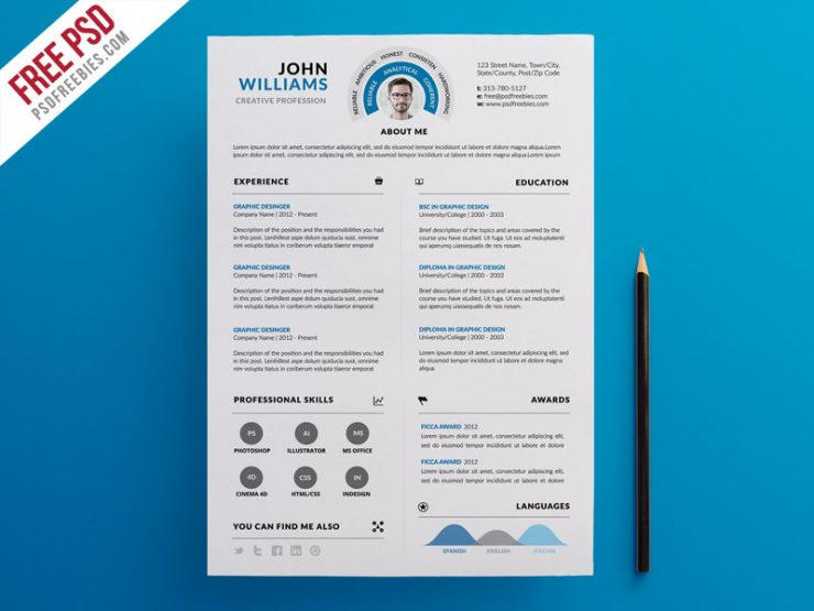Clean and Infographic Resume PSD Template