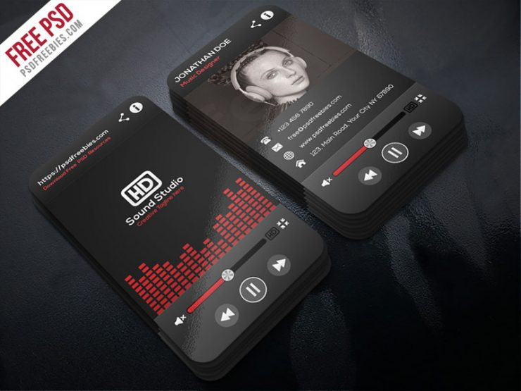 Music Player Style Business Card Template PSD