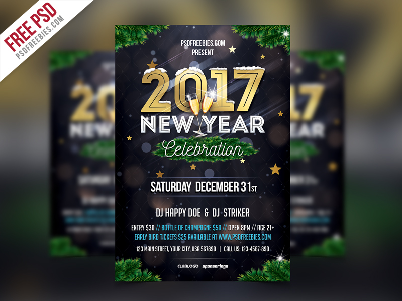 new year party flyer template psd