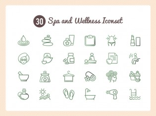 Spa And Wellness Icon Set PSD