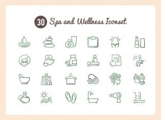 Spa And Wellness Icon Set PSD