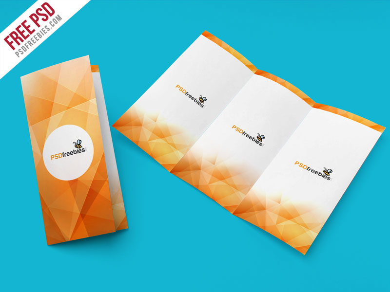 Tri fold brochure mockup psd template for Tri fold brochure template psd