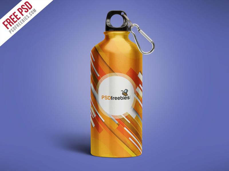 Aluminum Water Bottle Mockup Free PSD