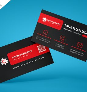 Black Corporate Business Card PSD Template