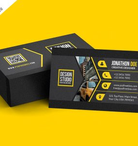 Creative Black Business Card Template PSD