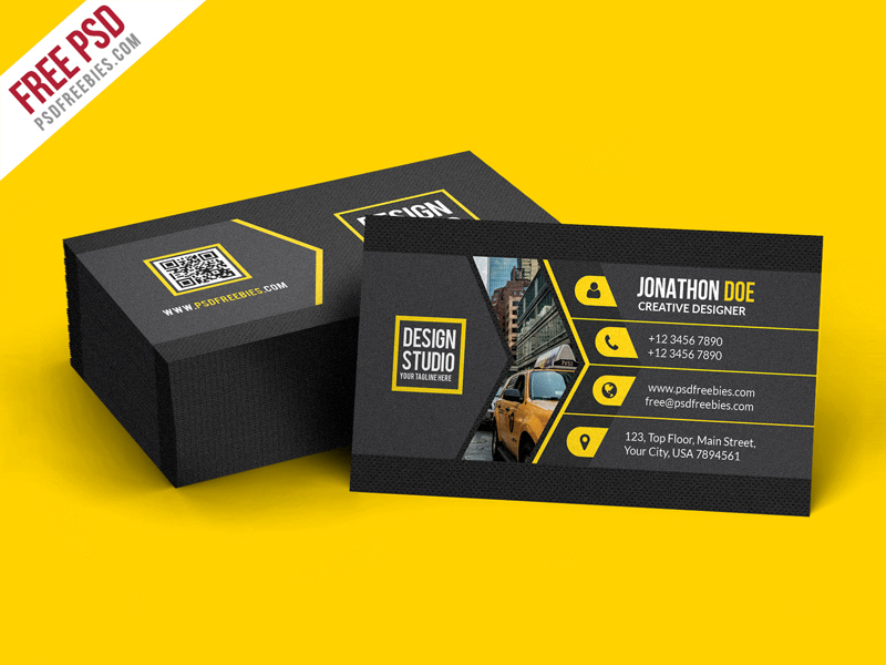 Creative black business card template psd psdfreebiescom for Business card photoshop template psd