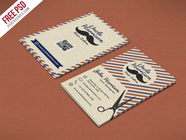 Retro Barber Shop Business Card PSD Template