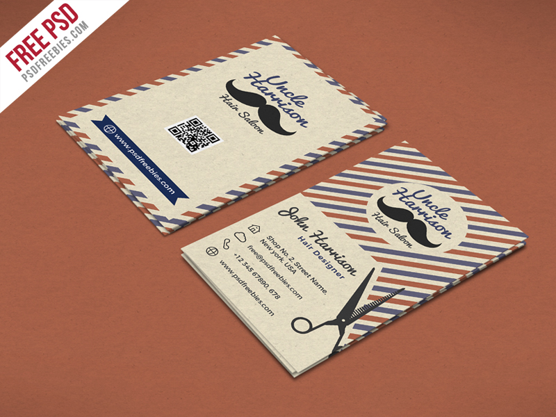 Retro Barber Shop Business Card PSD Template