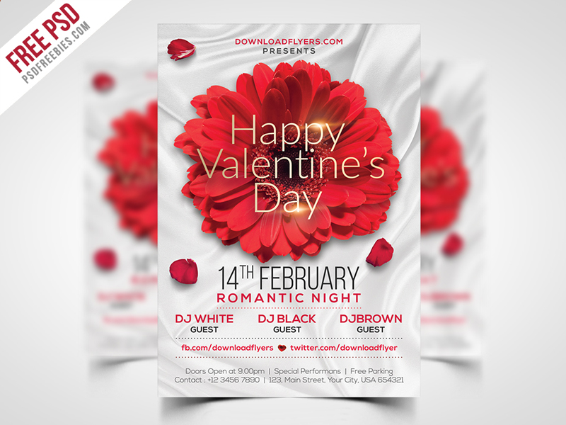 Valentines Day Flyer Template Free Psd Psdfreebies Com