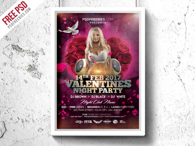 Valentines Day Party Flyer PSD Template
