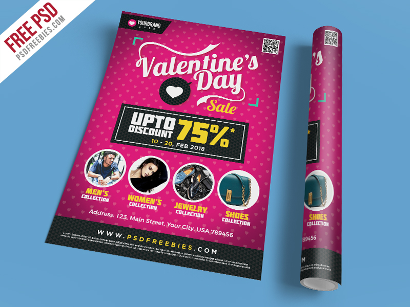 Valentines Day Shopping Sale Flyer Template PSD