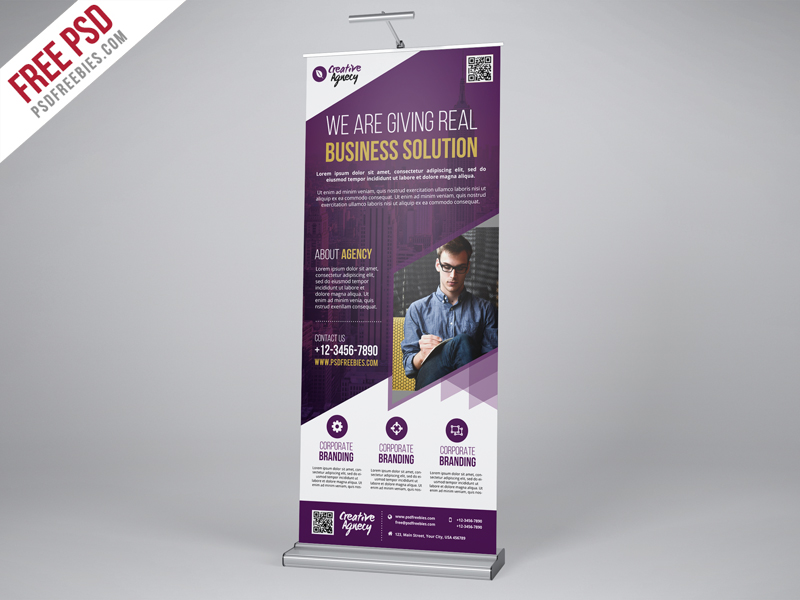 Creative Agency Roll Up Banner PSD Template